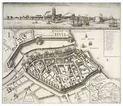 A map showing the site and fortification of Hull
